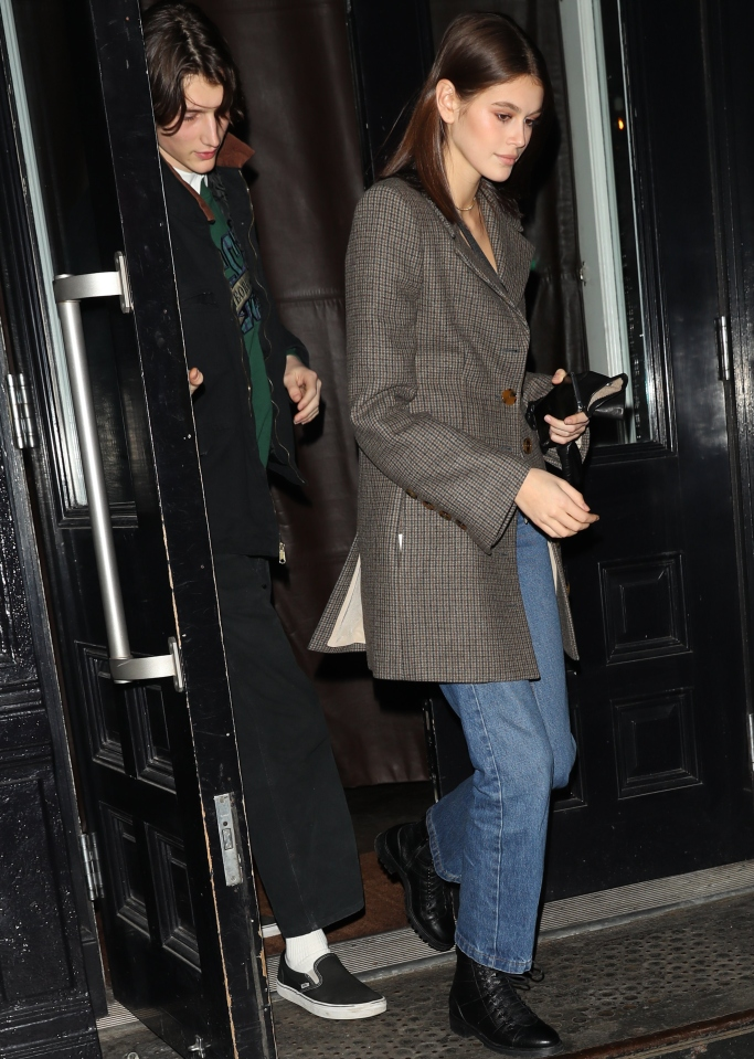 kaia gerber valentine's day, jimmy choo cruz ankle boots, Khaite Petra Tweed Long Blazer