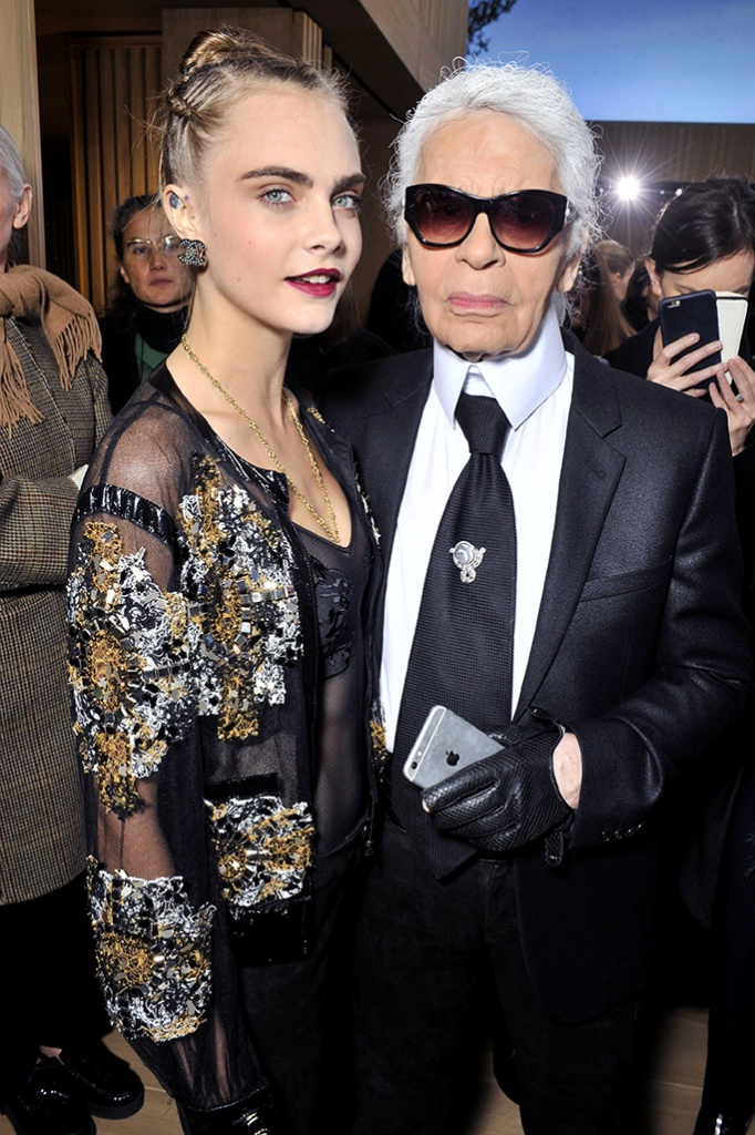 Cara Delevingne and Karl Lagerfeld in the front rowChanel show, Spring Summer 2016, Haute Couture, Paris Fashion Week, France - 26 Jan 2016