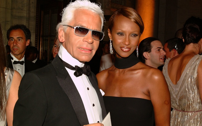 (L-R) Designer Karl Lagerfeld and Iman attend the 2002 CFDA Awards Ceremony at the New York Public Library in New York City.2002 CFDA Awards, New York