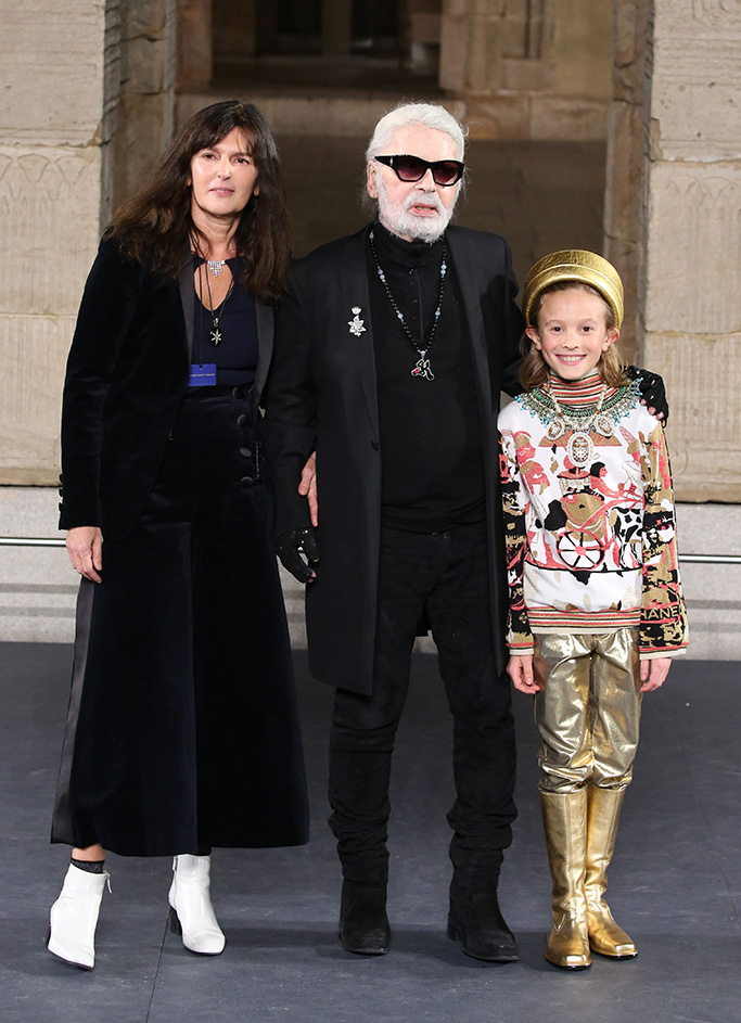 Virgine Viard, Karl Lagerfeld and Hudson Kroenig on the catwalkChanel Metiers d'Art 2018-2019 show, Runway, New York, USA - 04 Dec 2018