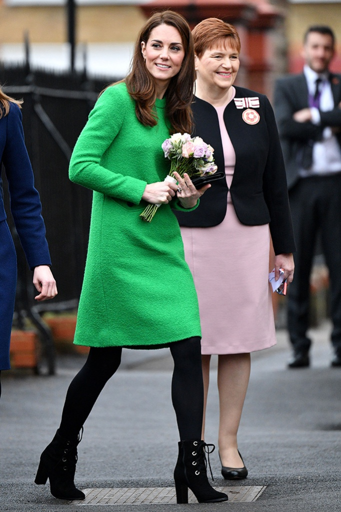 kate middleton, celebrity style, eponine green dress, lk bennett, boots, Catherine Duchess of Cambridge at Lavender Primary SchoolCatherine Duchess of Cambridge visits schools in support of Children's Mental Health, London, UK - 05 Feb 2019Her Royal Highness will first visit Lavender Primary School in support of Place2Be's Children's Mental Health Week 2019. Place2Be, of which Her Royal Highness is Patron, is a leading UK children's mental health charity providing in-school support and expert training to improve the emotional wellbeing of pupils, families, teachers and school staff. The charity works directly with more than 282 primary and secondary schools across England, Scotland and Wales.The Duchess will then visit Alperton Community School to meet the UK's first winner of the Varkey Foundation Global Teacher Prize, Andria Zafirakou, and find out more about the programmes theschool runs to support both students and teachers with their mental wellbeing. Ms Zafirakou won the global prize in 2018 in recognition of her contribution to the school community.