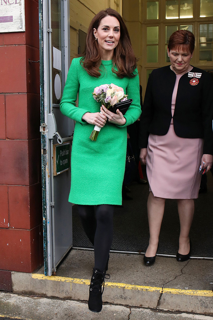 kate middleton, lk bennett, eponine, dress, green dress, black lace-up boots, celebrity style, Catherine Duchess of Cambridge at Lavender Primary SchoolCatherine Duchess of Cambridge visits schools in support of Children's Mental Health, London, UK - 05 Feb 2019Her Royal Highness will first visit Lavender Primary School in support of Place2Be's Children's Mental Health Week 2019. Place2Be, of which Her Royal Highness is Patron, is a leading UK children's mental health charity providing in-school support and expert training to improve the emotional wellbeing of pupils, families, teachers and school staff. The charity works directly with more than 282 primary and secondary schools across England, Scotland and Wales.The Duchess will then visit Alperton Community School to meet the UK's first winner of the Varkey Foundation Global Teacher Prize, Andria Zafirakou, and find out more about the programmes theschool runs to support both students and teachers with their mental wellbeing. Ms Zafirakou won the global prize in 2018 in recognition of her contribution to the school community.
