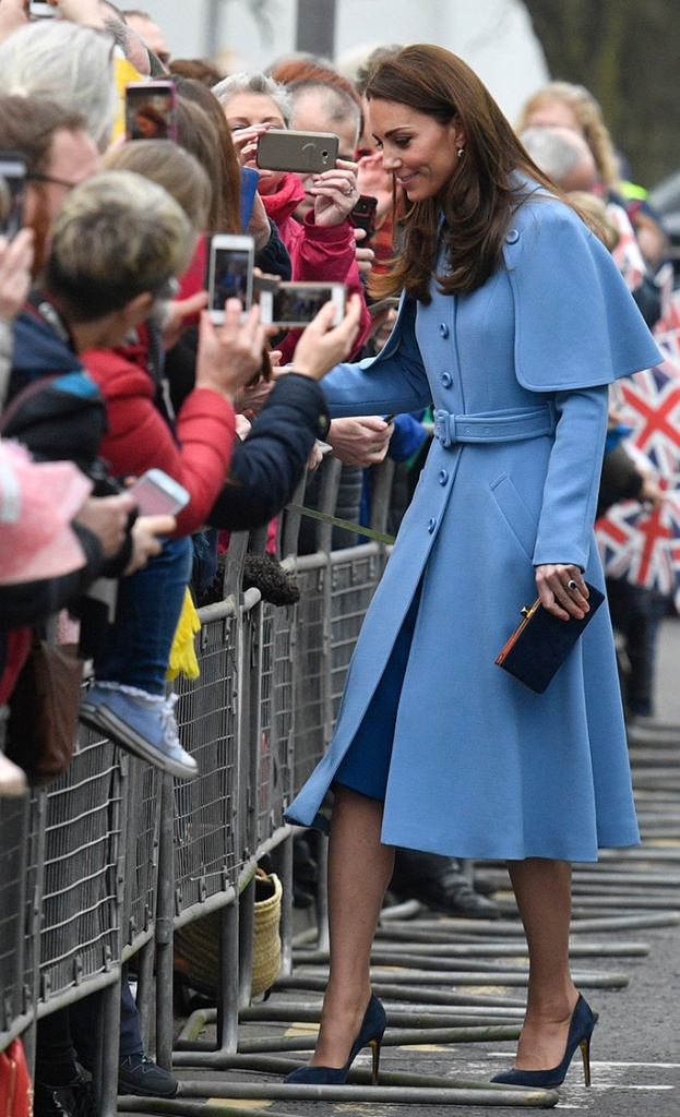 kate middleton, royal style, celebrity style, mulberry, rupert sanderson, Catherine Duchess of Cambridge (R) meets members of the public as she visits the Braid Centre in Ballymena, Northern Ireland, Britain, 28 February 2019. The Duke and Catherine Duchess of Cambridge are on a two-day royal visit to Northern Ireland.Duke and Duchess of Cambridge visit Northern Ireland, Ballymena, United Kingdom - 28 Feb 2019