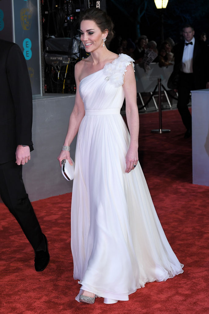 kate middleton, white one-shouldered gown, glittery silver pumps, red carpet, baftas 2019
