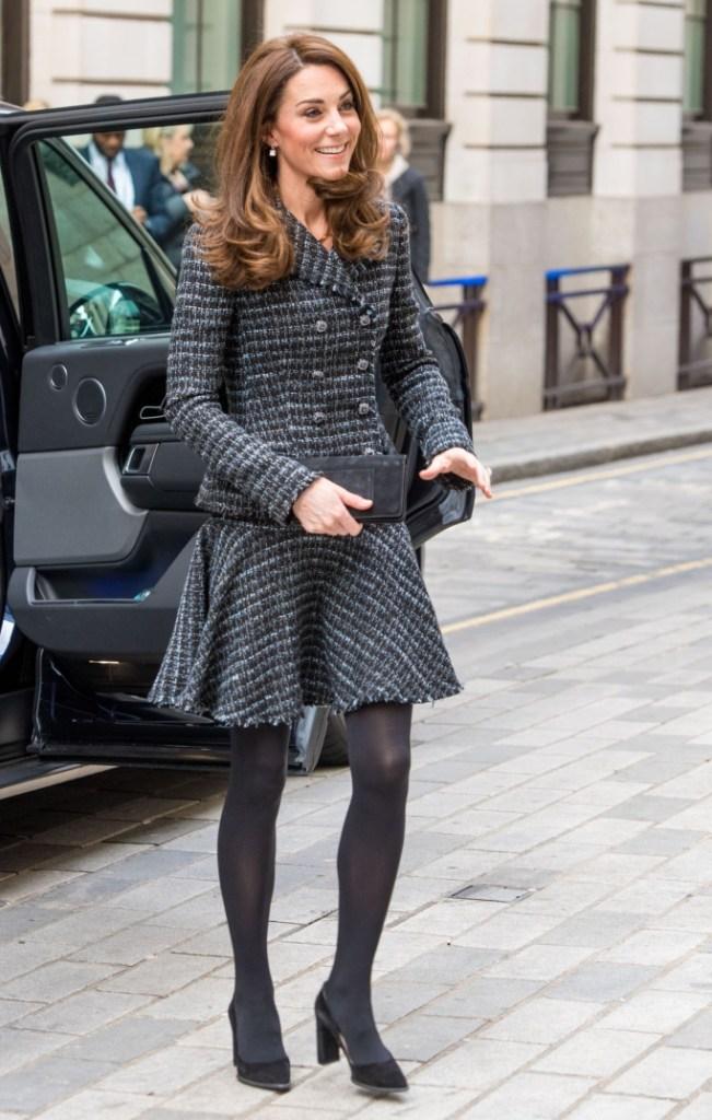tod's block heel suede pumps, kate middleton, bespoke chanel suit