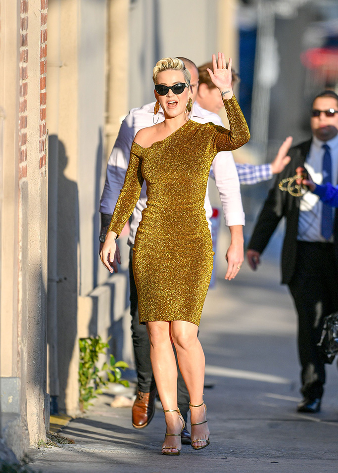 Katy Perry, gold dress, sandals, Jimmy Kimmel Live!' TV show, Los Angeles, USA - 25 Feb 2019Wearing Solace London, Shoes by Giuseppe Zanotti