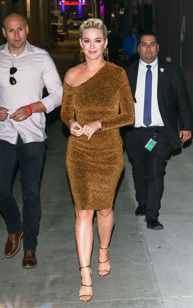 Katy Perry, gold dress, sandals, 'Jimmy Kimmel Live!' TV show, Los Angeles, USA - 25 Feb 2019