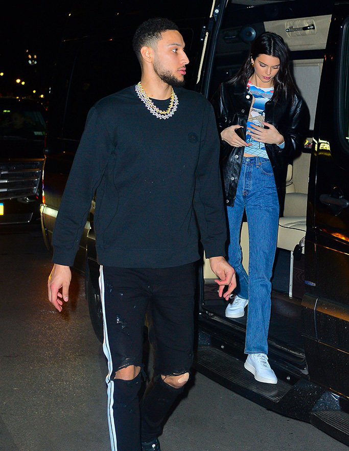 Kendall Jenner, white sneakers, leather jacket, celebrity style, philadelphia 76ers, celebrity couple, and Ben Simmons go for Valentine's dinner date at Zuma in New YorkPictured: Ben Simmons,Kendall JennerRef: SPL5064173 140219 NON-EXCLUSIVEPicture by: PapCulture / SplashNews.comSplash News and PicturesLos Angeles: 310-821-2666New York: 212-619-2666London: 0207 644 7656Milan: 02 4399 8577photodesk@splashnews.comWorld Rights