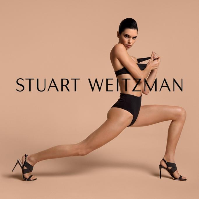 stuart weitzman's Alana stretch sandal, spring 2019 campaign, kendall jenner