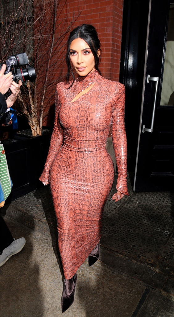 Kim Kardashian, thierry mugler, celebrity style, yeezy, vintage, snakeskin, sequins, boots, Kim Kardashian out and about, New York Fashion Week, USA - 07 Feb 2019Wearing Mugler Vintage (1983), Same Outfit as Tracee Ellis Ross Shoes By Yeezy