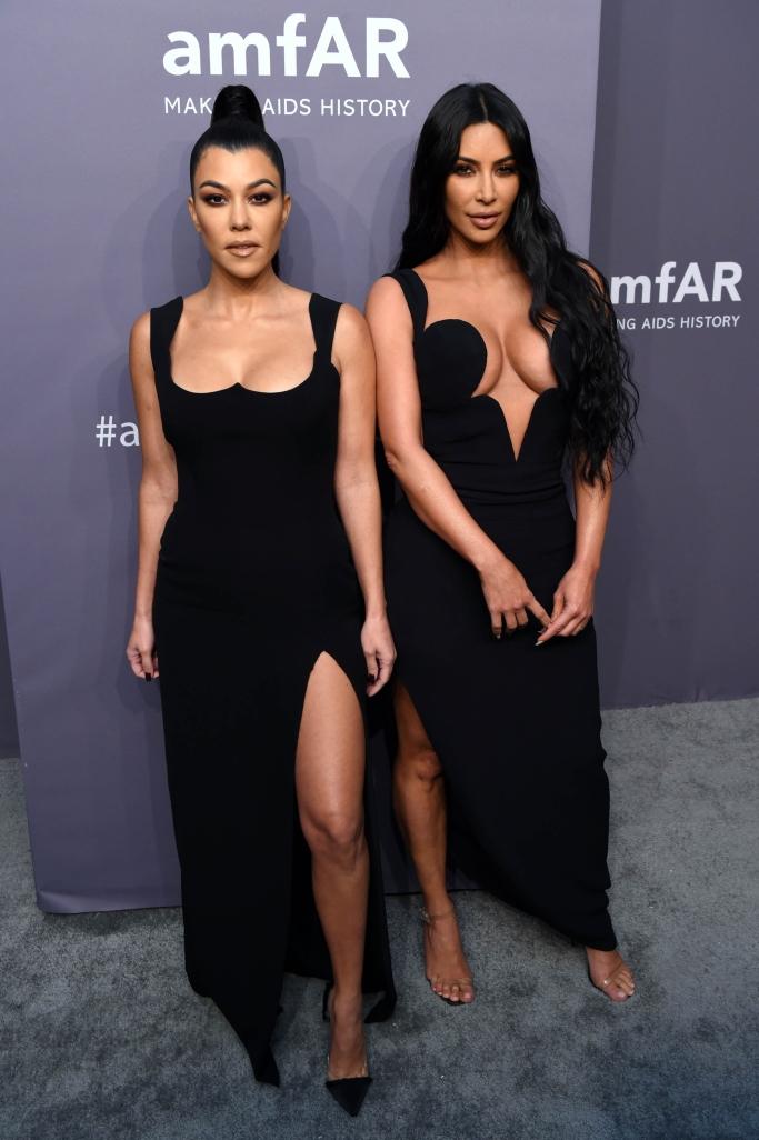 Kourtney Kardashian, kim kardashian, 2019 amfar gala, new york fashion week, versace