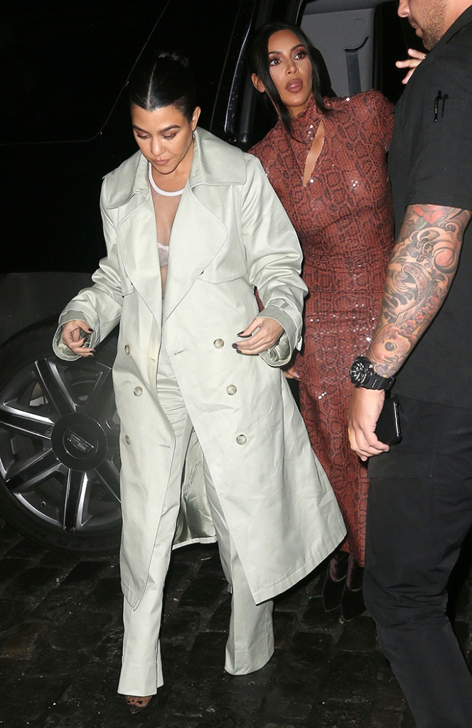 bra, see-through, yeezy, heels, Kim Kardashian, Kourtney KardashianKim Kardashian and Kourtney Kardashian out and about, New York Fashion Week, USA - 07 Feb 2019