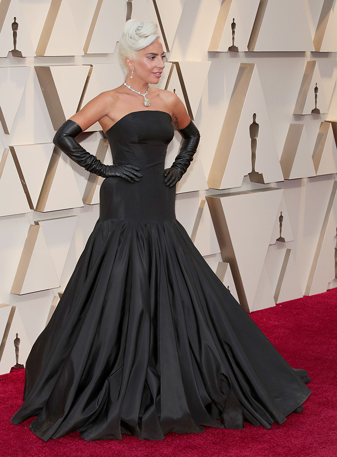 Lady Gaga, black gown, gloves, tiffany & co, 91st Annual Academy Awards, Arrivals, Los Angeles, USA - 24 Feb 2019