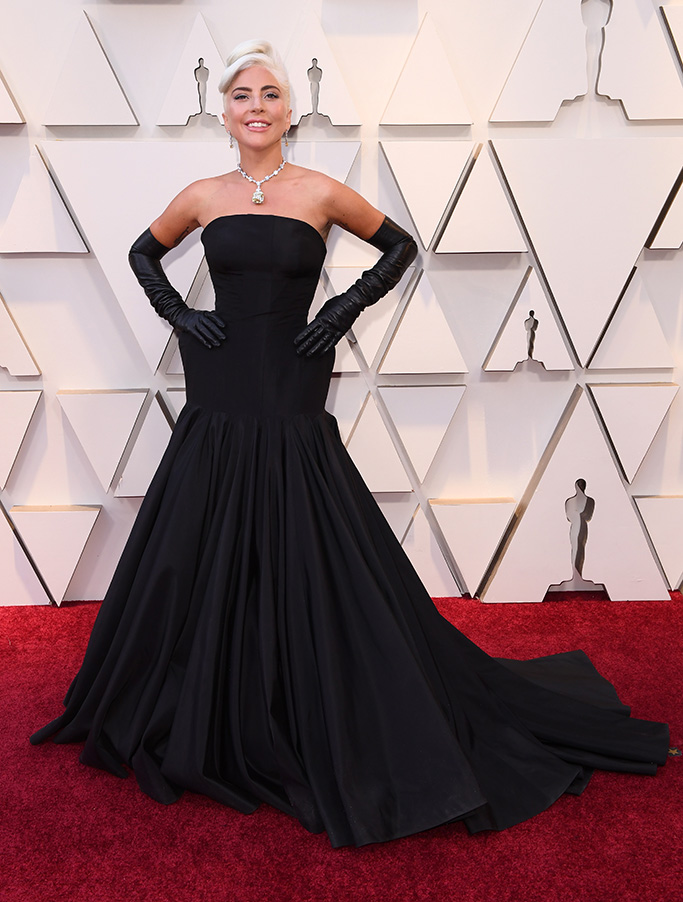 Lady Gaga, alexander mcqueen, oscars, red carpet, black gown, gloves, tiffany & co jewels, 91st Annual Academy Awards, Arrivals, Los Angeles, USA - 24 Feb 2019