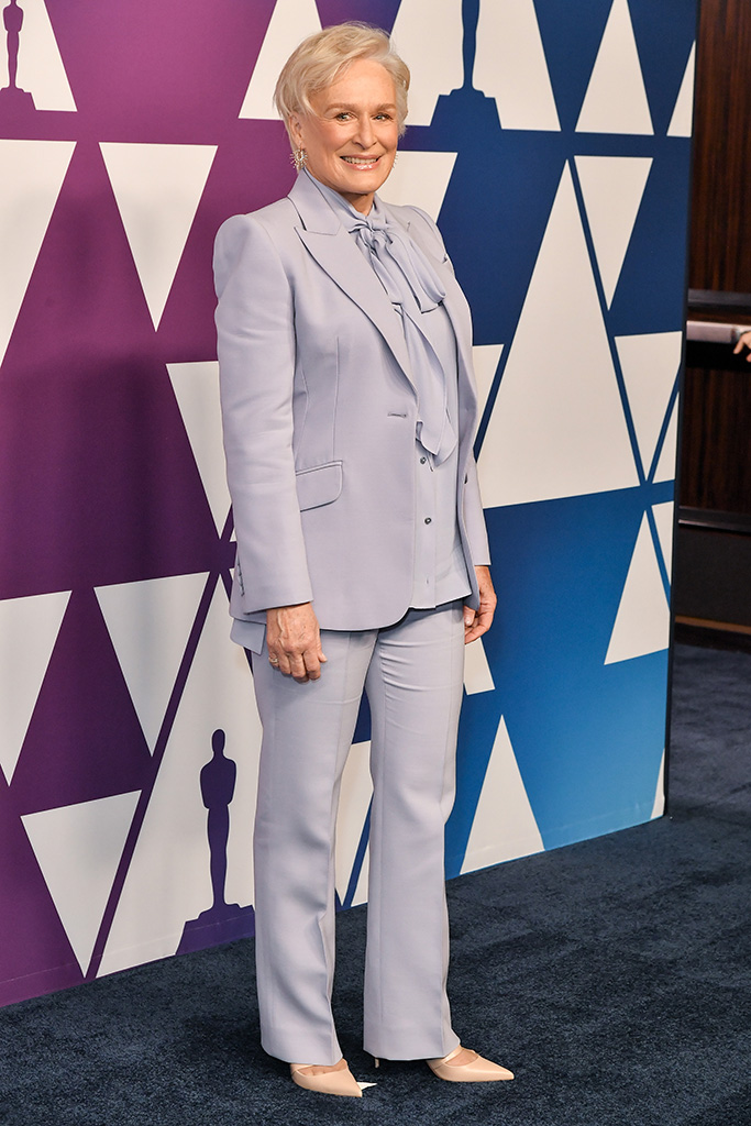 Glenn Close, celebrity style, purple pantsuit, red carpet, The Academy Awards Nominees Luncheon, The Beverly Hilton, Los Angeles, USA - 04 Feb 2019Wearing Alexander McQueen, Shoes by Christian Louboutin