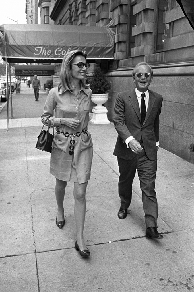Truman Capote with Lee Radziwill walking together on a Manhattan streetTruman Capote and Lee Radziwill, New York