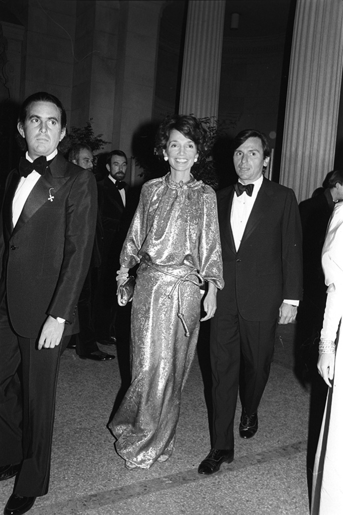 Lee Radziwill in gold McFadden with Peter TufoMetropolitan Museum of Art Costume Institute Gala, New York