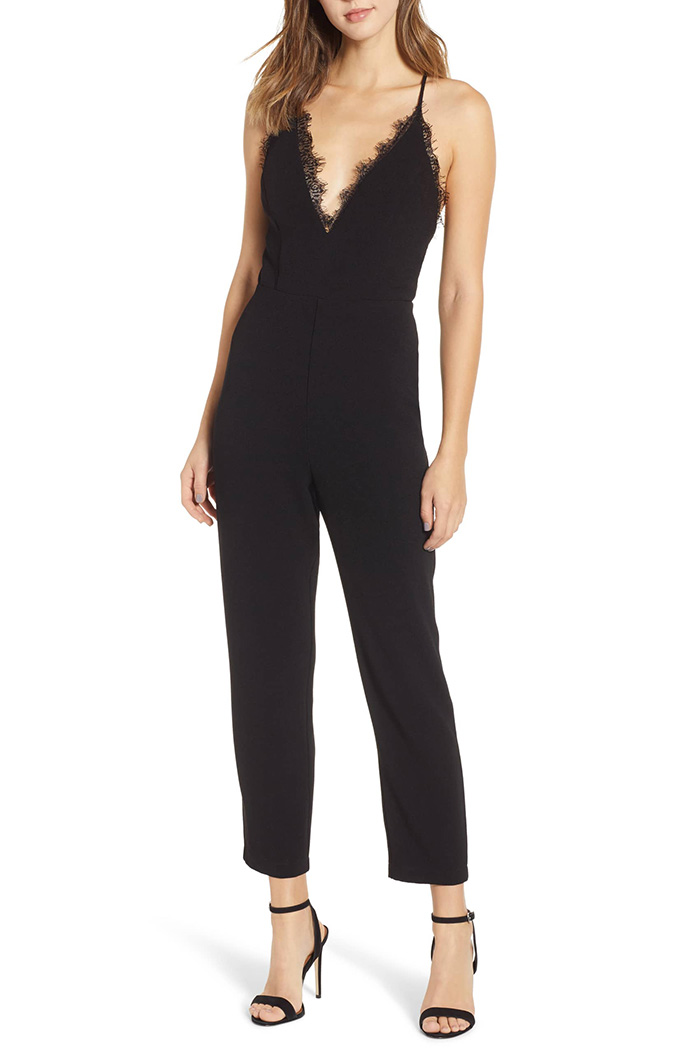 Leith deep V-neck lace trim jumpsuit.