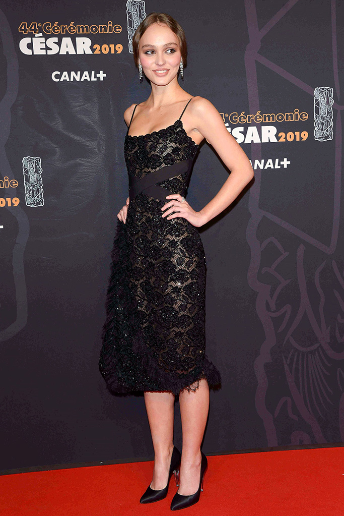 Lily-Rose Depp, chanel, red carpet, lbd, black lace dress, pumps, 44th Cesar Film Awards, Arrivals, Paris, France - 22 Feb 2019