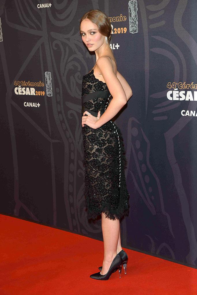 Lily-Rose Depp, chanel, lbd, red carpet, lace dress, celebrity style, 44th Cesar Film Awards, Arrivals, Paris, France - 22 Feb 2019