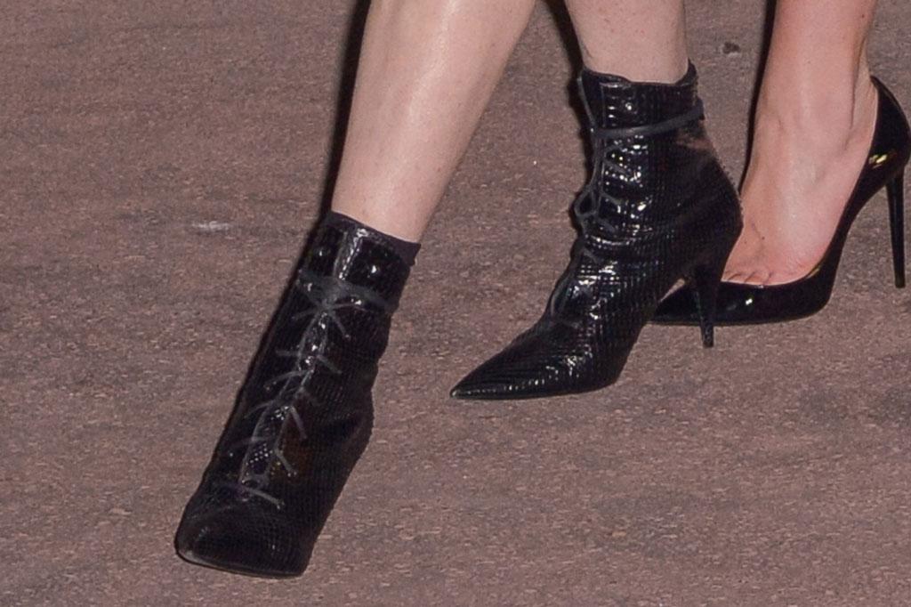 Lindsay Lohan, fall 2019 paris fashion week, saint laurent, black ankle boots, celebrity style