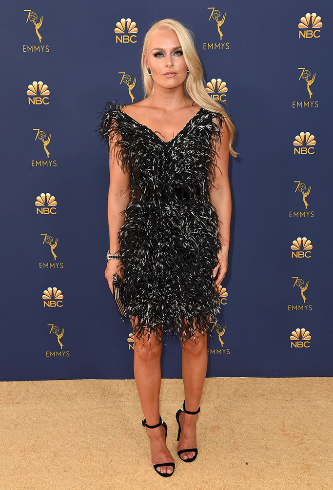Lindsey Vonn, emmy awards, 2018, red carpet, legs, Christian Siriano, giuseppe zanotti