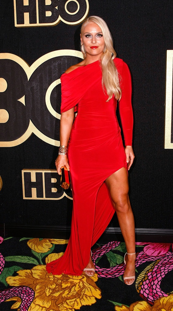 Lindsey Vonn, hamel, alexandre birman, celebrity style, 70th Primetime Emmy Awards, HBO Party, Arrivals, Los Angeles, USA - 17 Sep 2018