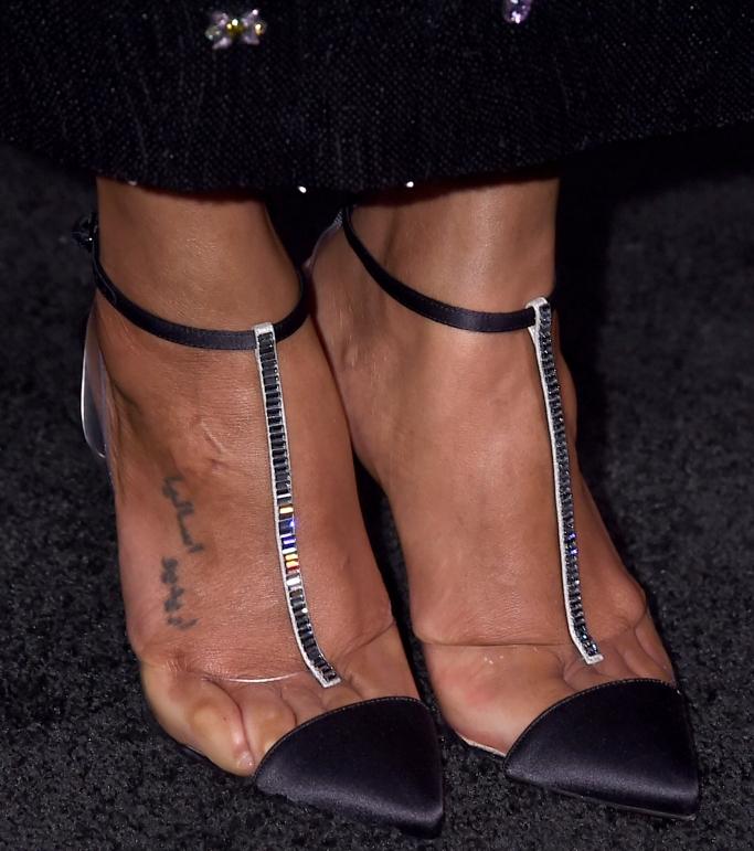foot tattoo, zoe saldana, Christian Louboutin Nosy Embellished Satin T-Strap Pumps