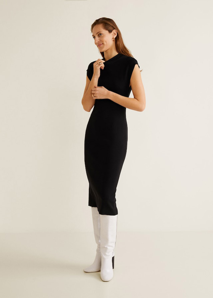 Mango fitted jersey dress.