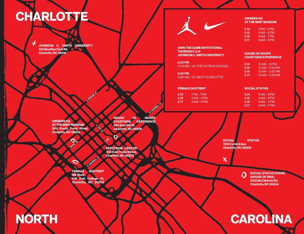 Nike Jordan Brand Map Charlotte NBA All-Star Weekend