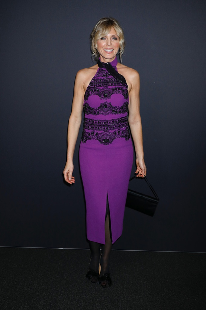 Marla Maples, purple halter dress, feathered high heels, celebrity style, in the front rowZang Toi show, Front Row, Fall Winter 2019, New York Fashion Week, USA - 13 Feb 2019