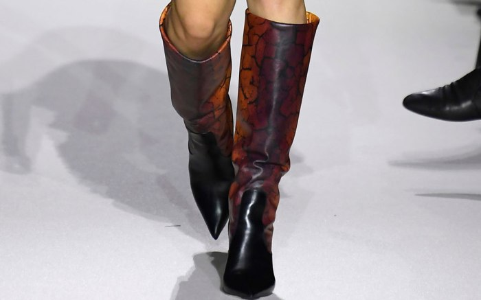 Boots on the runway for  Mary Katrantzou.