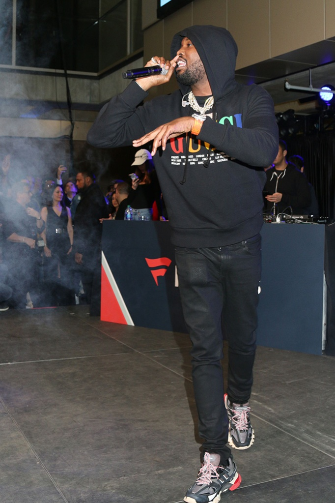 Meek Mill, celebrity style, gucci, balenciaga, hoodie, track sneakers, Michael Rubin's Fanatics Super Bowl LIII Party, Atlanta, USA - 02 Feb 2019