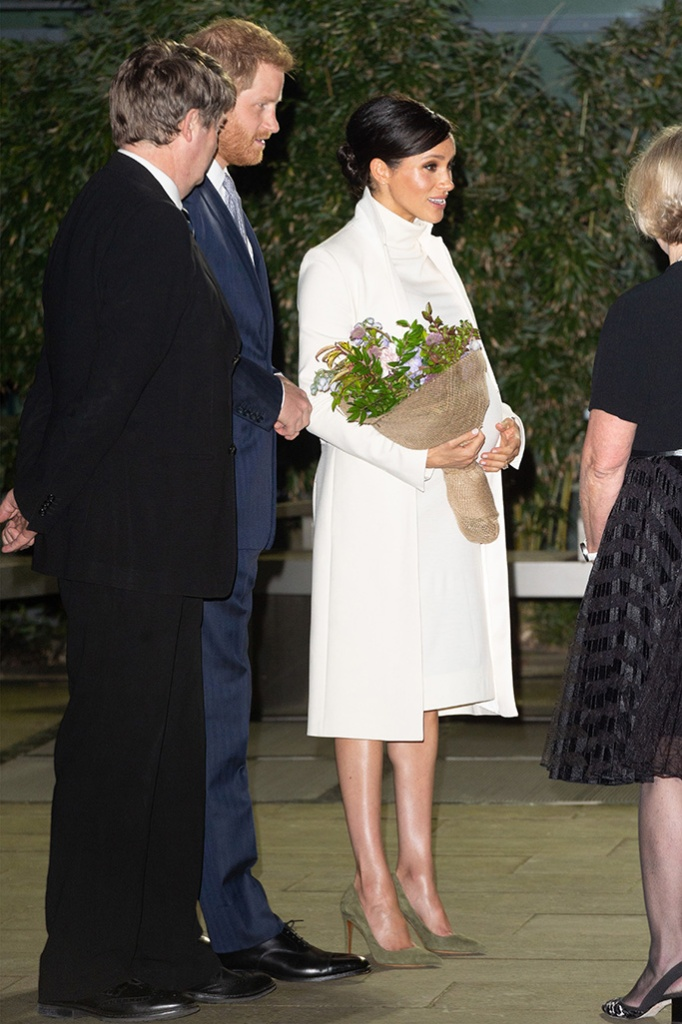 meghan markle, celebrity style, ralph lauren, green pumps, calvin klein, dress, amanda wakeley, coat, Prince Harry and Meghan Duchess of Sussex arrive at the Natural History Museum gala performance of 'The Wider Earth' in support of The Queen's Commonwealth Trust and The Queen's Commonwealth Canopy.'The Wider Earth' gala performance, Natural History Museum, London, UK - 12 Feb 2019