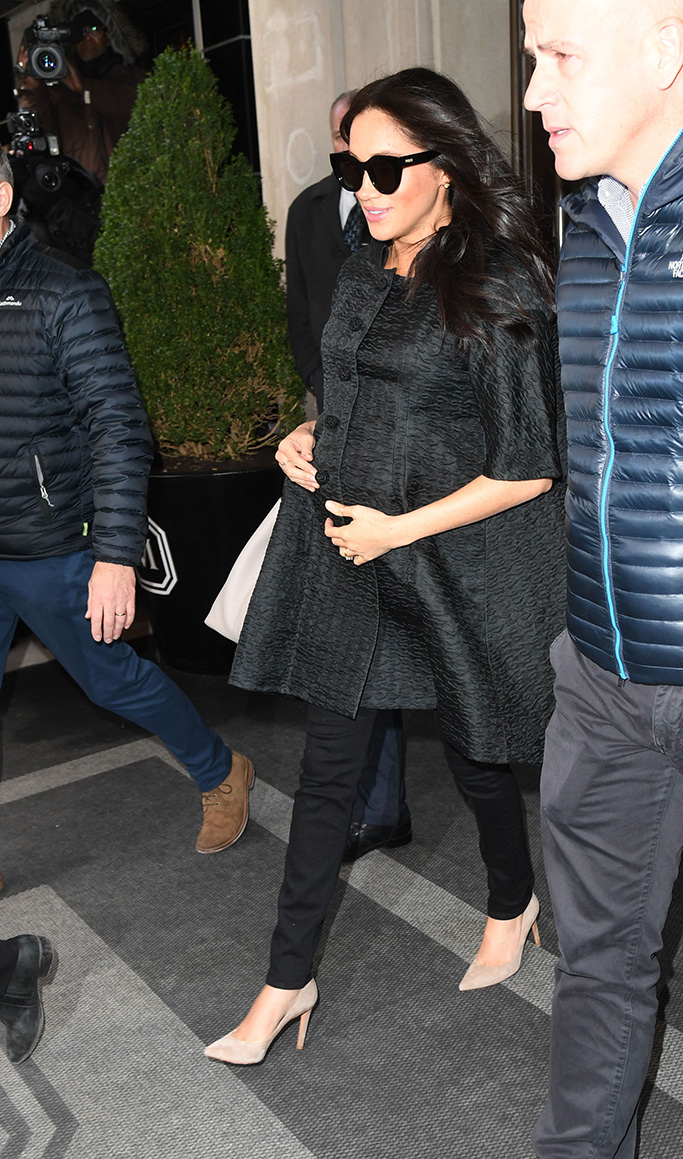 Meghan markle, celebrity style, gray coat, skinny jeans, nude pumps, Duchess of SussexMeghan Duchess of Sussex Baby Shower, New York, USA - 19 Feb 2019