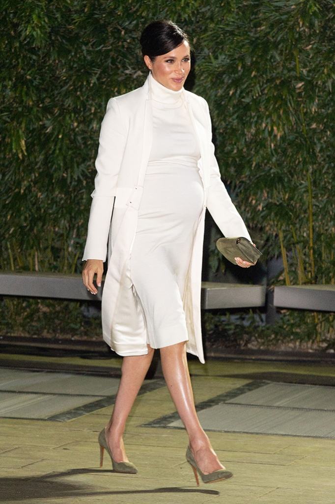 Meghan Markle, amanda wakeley, coat, ralph lauren, pumps, high heels, olive green, calvin klein, white dress, royal style, Duchess of Sussex arrives at the Natural History Museum gala performance of 'The Wider Earth' in support of The Queen's Commonwealth Trust and The Queen's Commonwealth Canopy.'The Wider Earth' gala performance, Natural History Museum, London, UK - 12 Feb 2019