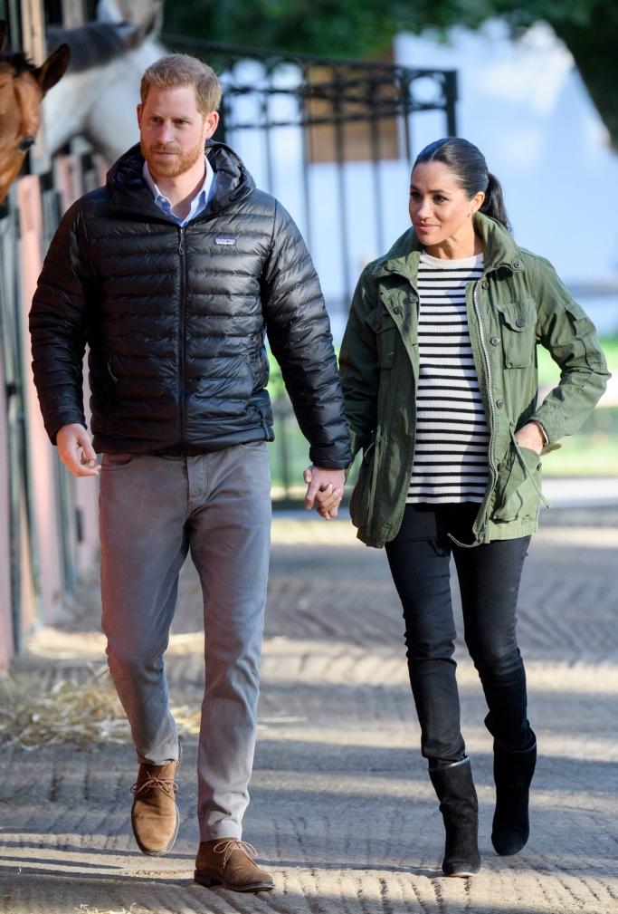 Prince Harry and Meghan Markle, morocco tour, stuart weitzman boots, patagonia jacket
