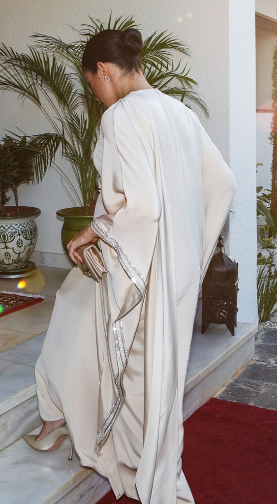 Meghan Markle, celebrity style, dior, champagne gown, heels, gold, Duchess of Sussex attends a reception hosted by the British Ambassador to MoroccoPrince Harry and Meghan Duchess of Sussex visit to Morocco - 24 Feb 2019