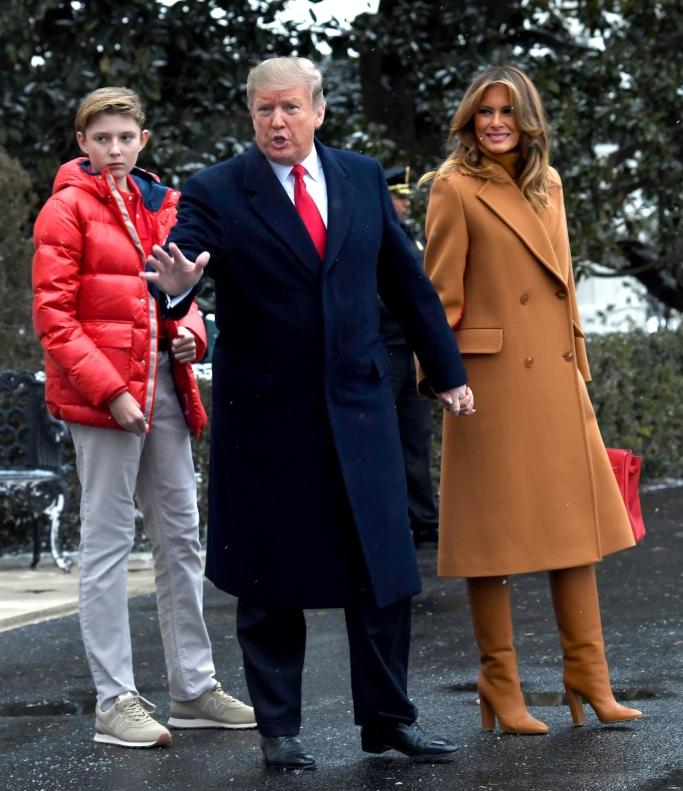 melania trump, barron trump, president donald trump, mar-a-lago, new balance sneakers