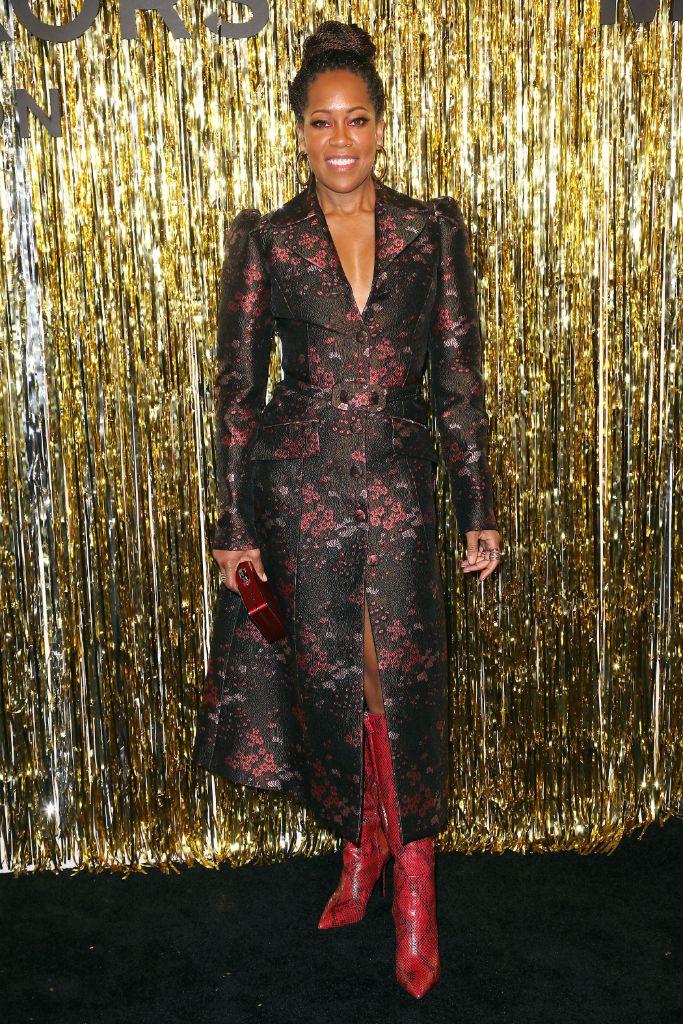regina king, python boots, michael kors fall 2019 show, new york fashion week