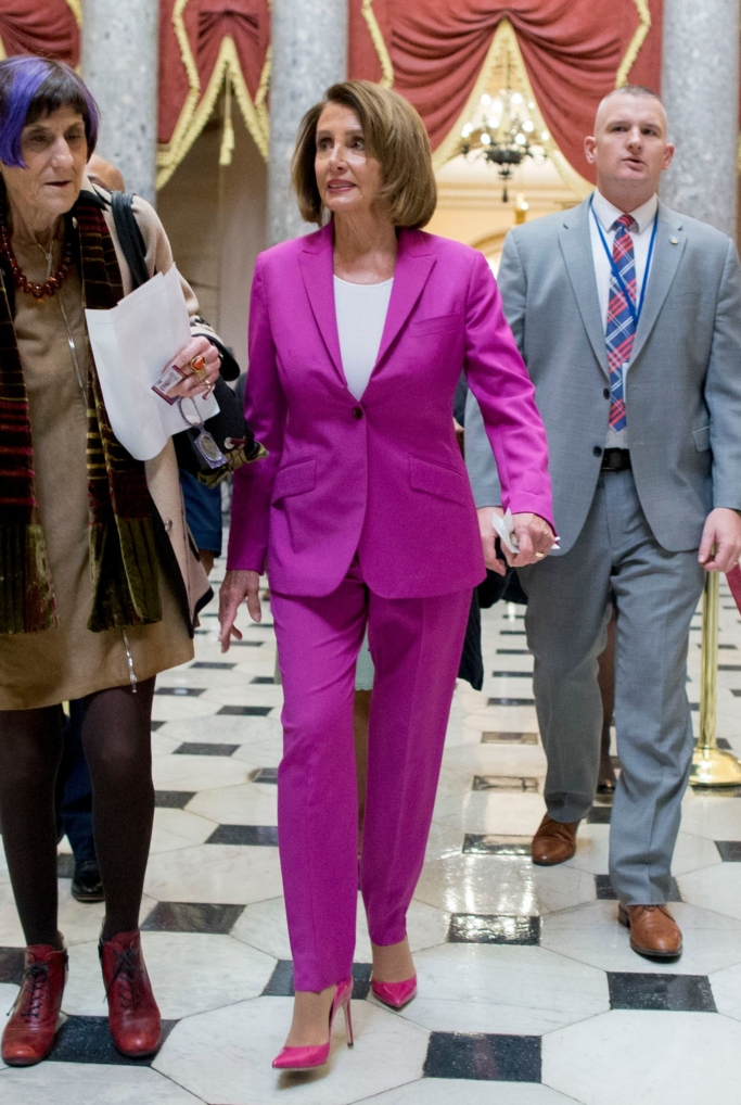 nancy pelosi pink pumps