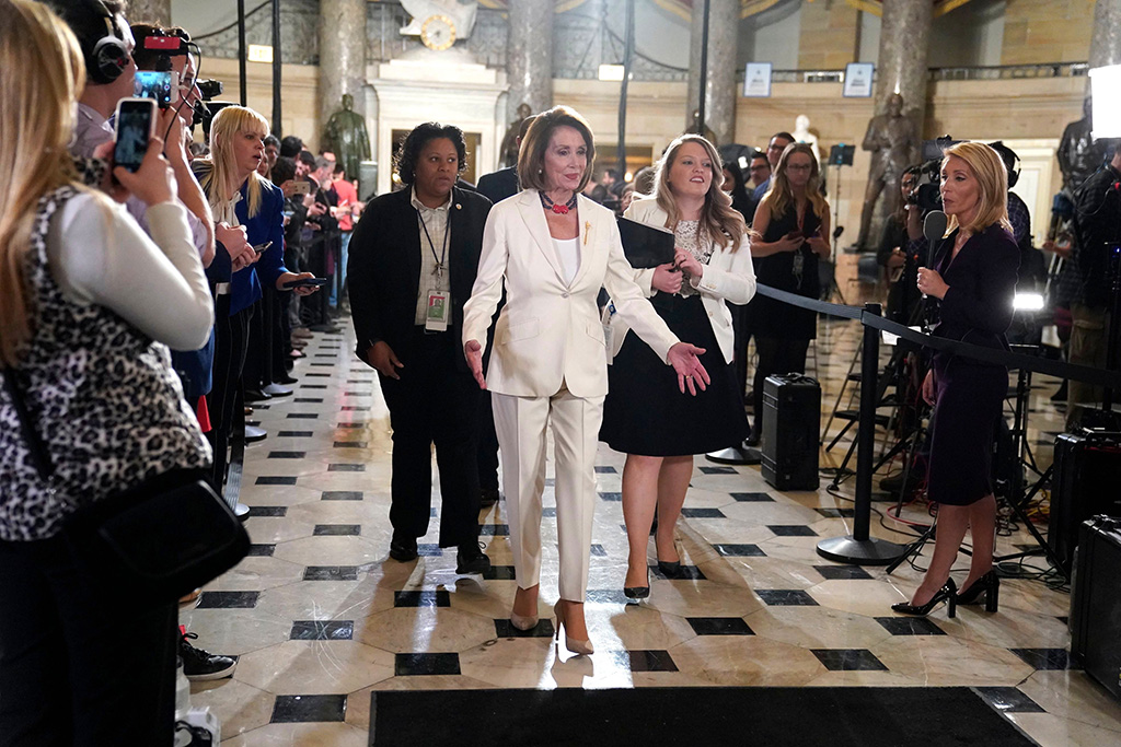 House Speaker Nancy Pelosi of Calif, arrives to listen to President Donald Trump deliver his State of the Union address to a joint session of Congress on Capitol Hill in WashingtonState of Union, Washington, USA - 05 Feb 2019