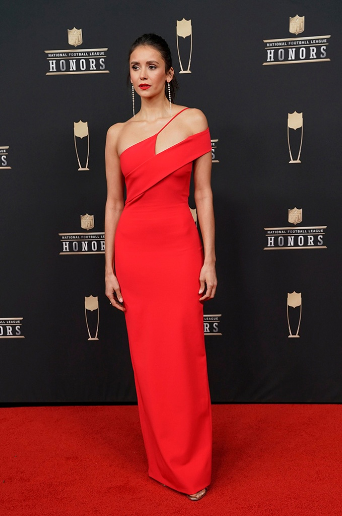 Nina Dobrev arrives at the 8th Annual NFL Honors at The Fox Theatre, in Atlanta8th Annual NFL Honors, Atlanta, USA , cushnie, celebrity style, cushnie, - 02 Feb 2019