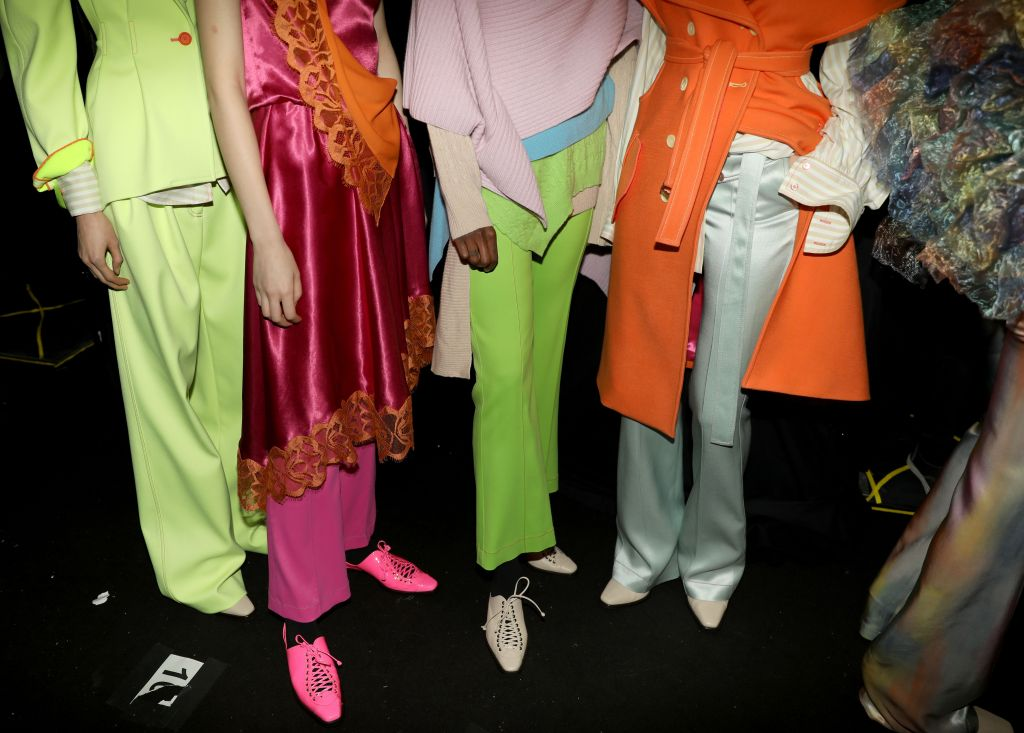 Models backstage, fashion detailSies Marjan show, Backstage, Fall Winter 2019, New York Fashion Week, USA - 10 Feb 2019