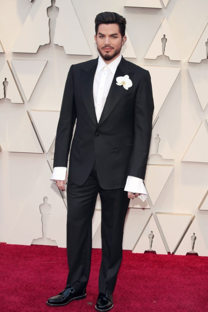 Adam Lambert, tom ford, suit, oscars, orchid, celebrity style