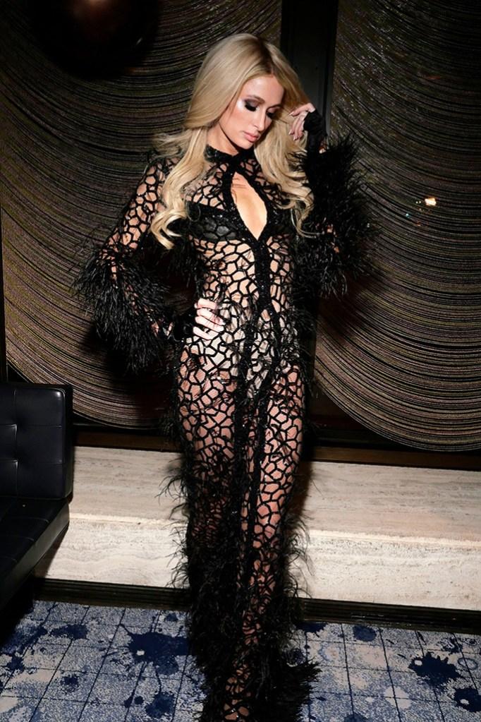 Paris Hilton , spiderweb dress, see-through, underwear, celebrity style,in the front rowPhilipp Plein and Billionaire show, Front Row, Fall Winter 2019, New York Fashion Week, USA - 11 Feb 2019