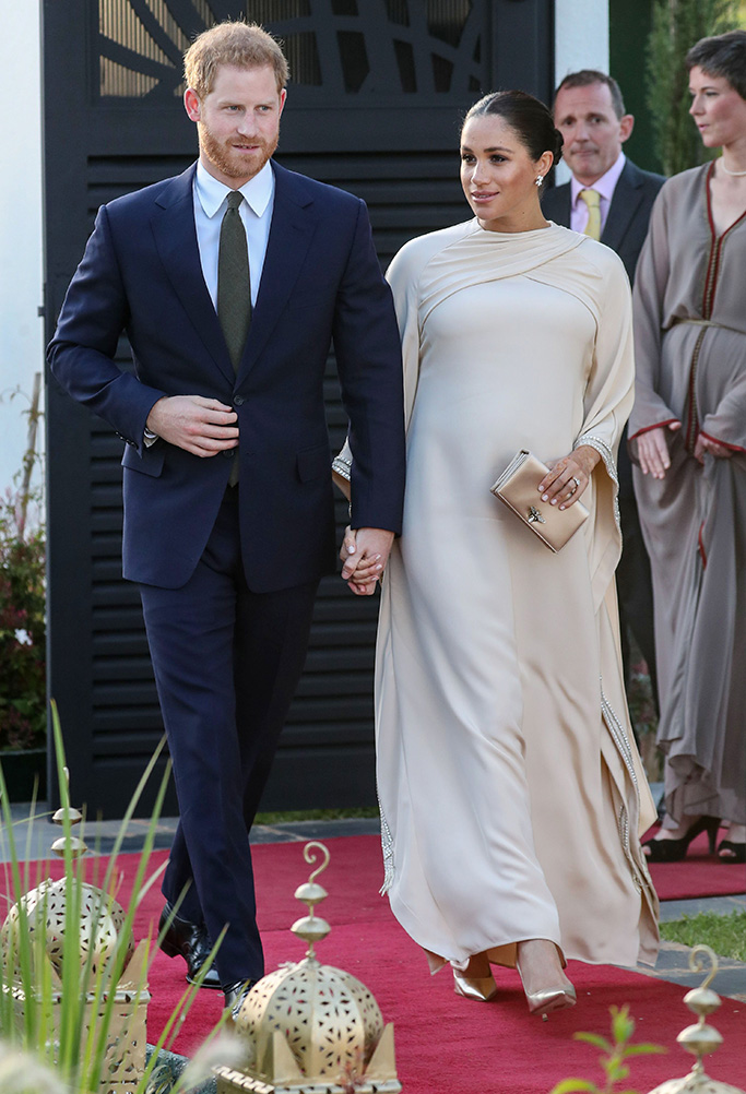 Prince Harry, Meghan Markle, dior, celebrity style, royal dressing, gold pumps, kaftan, and Meghan Duchess of Sussex attend a reception hosted by the British Ambassador to MoroccoPrince Harry and Meghan Duchess of Sussex visit to Morocco - 24 Feb 2019
