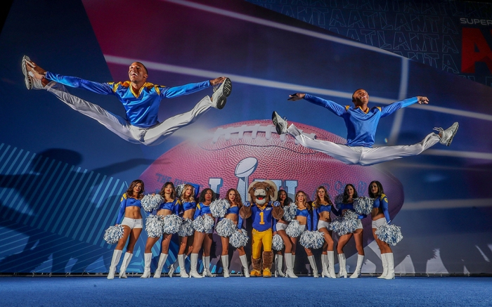 Los Angeles Rams Cheerleaders and Mascot Rampage with first ever Male cheerleaders Quinton Peron left and Napoleon Jinnies who will be appearing at Superbowl.Superbowl Previews ,Atlanta,Georgia,USA- 30 Jan 2019