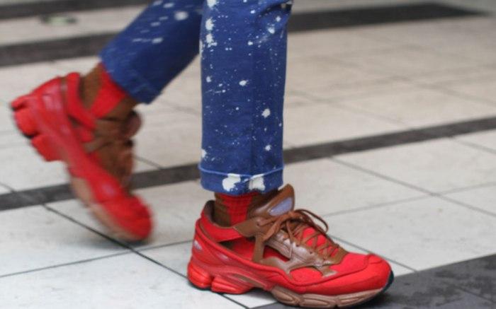 red sneakers, tokyo fashion week