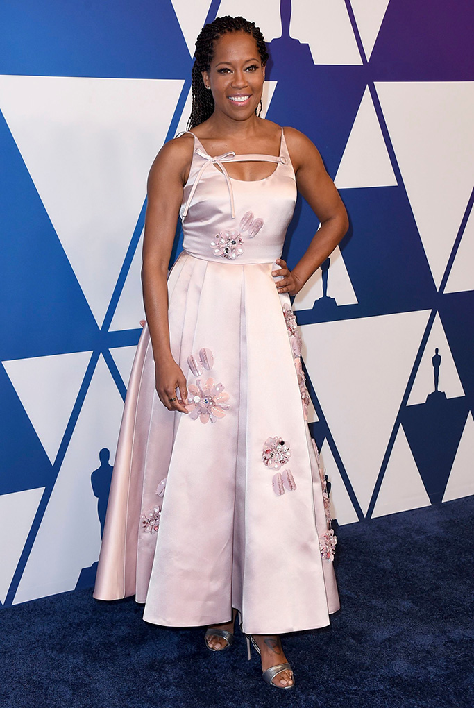 Regina King , prada, pink dress, celebrity style, red carpet, arrives at the 91st Academy Awards Nominees Luncheon, at The Beverly Hilton Hotel in Beverly Hills, Calif91st Academy Awards Nominees Luncheon - Arrivals, Beverly Hills, USA - 04 Feb 2019